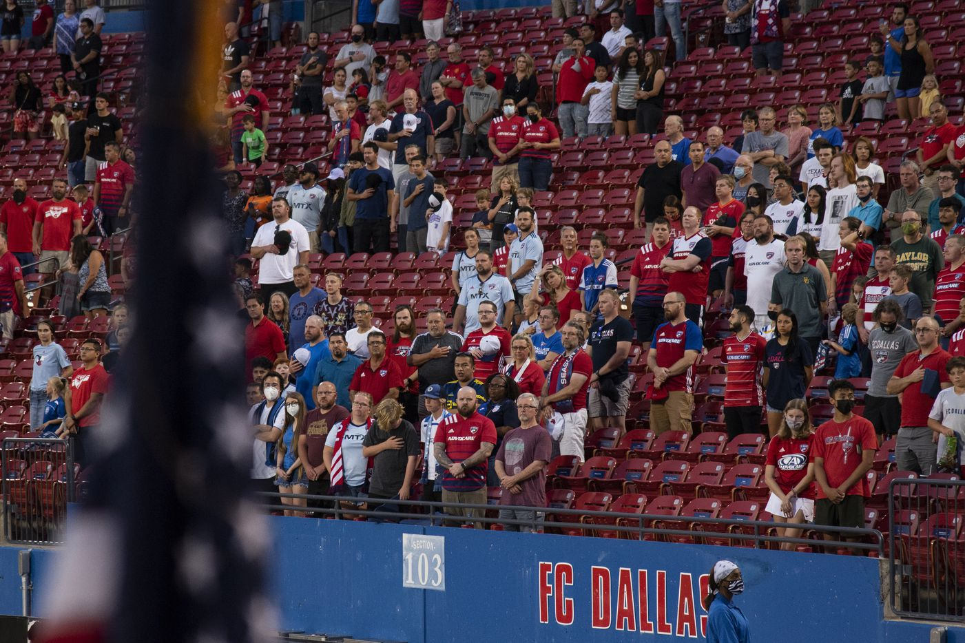 Fans stand for the national anthem prior to the start of FC DallasÕ home game against the San Jose Earthquakes at Toyota Stadium in Frisco, Texas on Saturday, September 11, 2021. (Emil Lippe/Special Contributor)