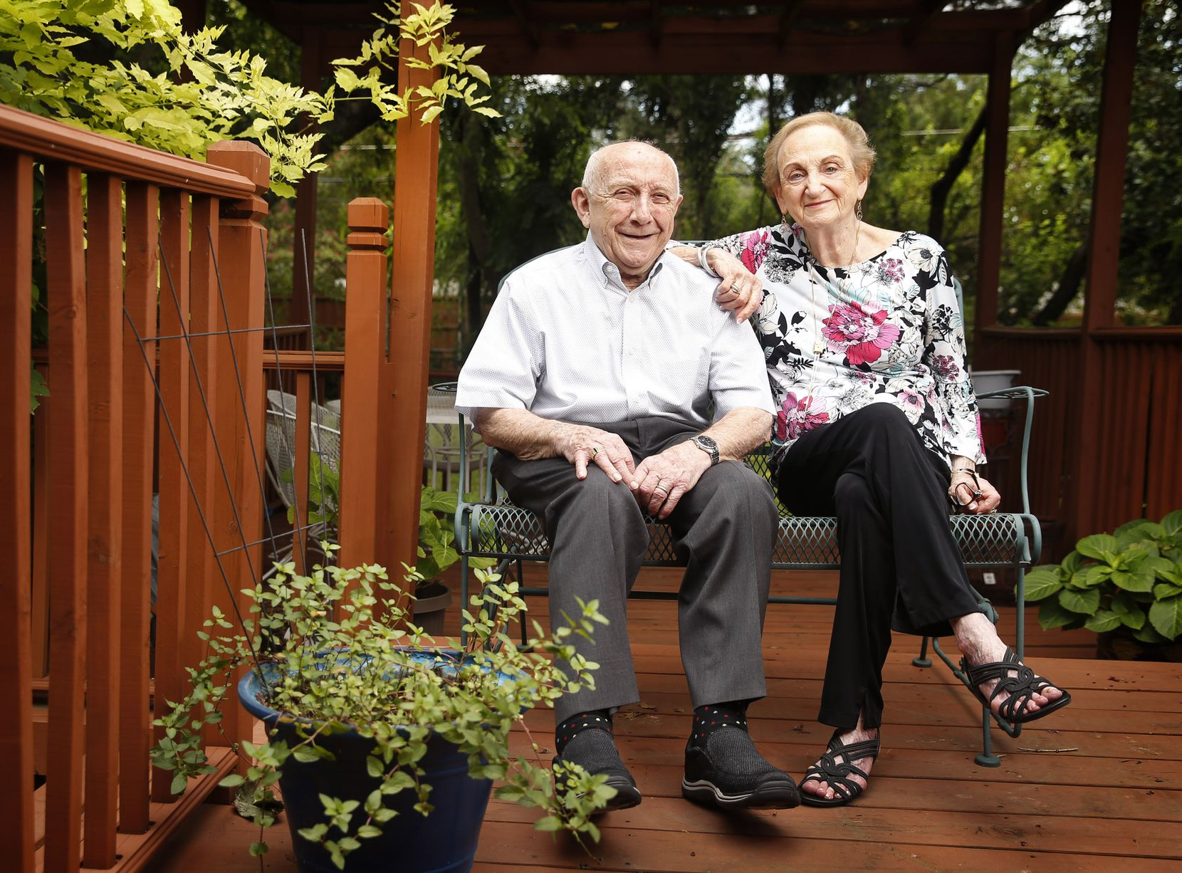 Holocaust survivor Max Glauben and his wife Frieda are photographed outside their Dallas home, Tuesday, August 4, 2020.