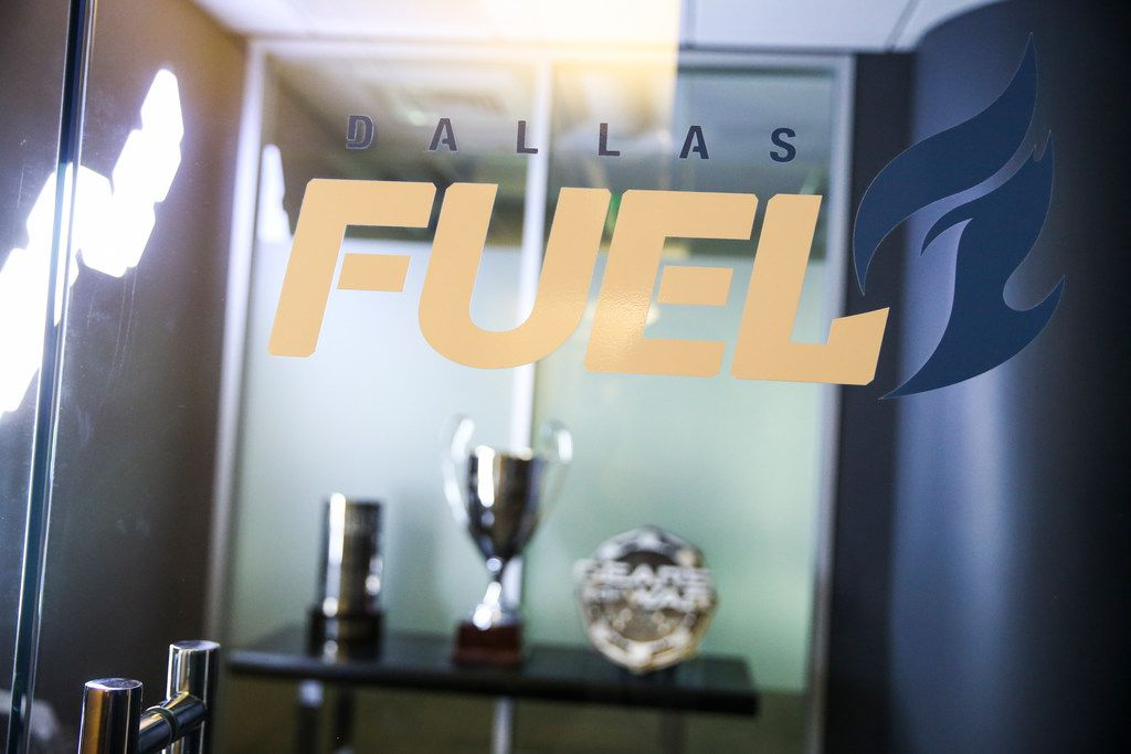 Gaming awards are seen through the entryway to the Team Envy and Dallas Fuel office space Feb. 1, 2019.
