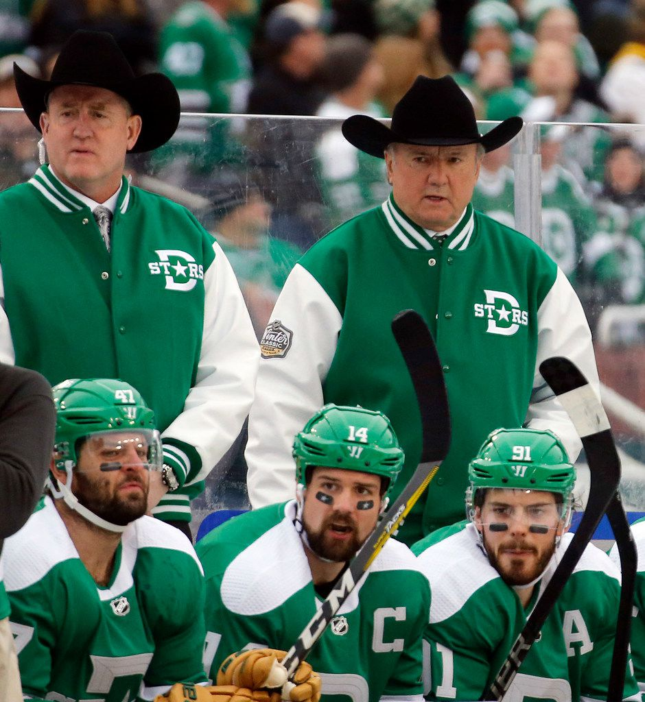 Dallas Stars head coach Rick Bowness (right) donned his cowboy hat to start the NHL Winter Classic hockey game against the Nashville Predators at the Cotton Bowl in Dallas, Wednesday, January 1, 2019. (Tom Fox/The Dallas Morning News)