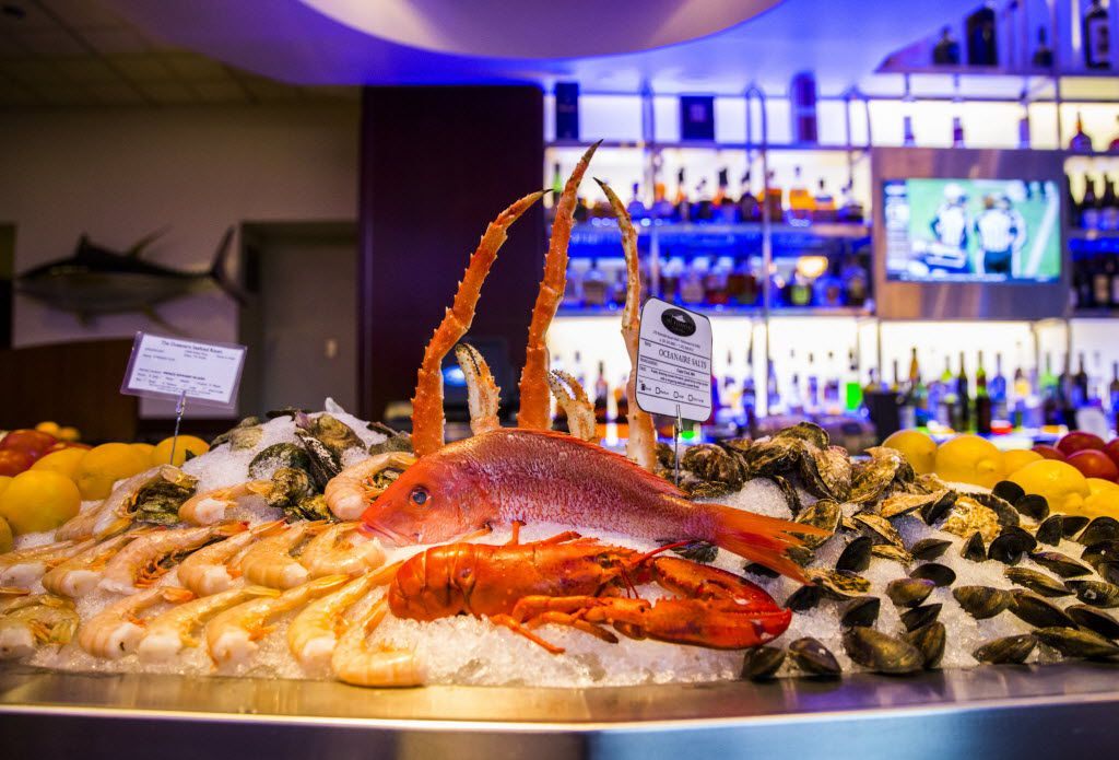 An inviting raw bar is on display at the Ocean Seafood Room in the Westin Galleria hotel.