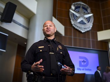 Dallas Police Department Chief, Eddie Garcia, takes questions from reporters during a press conference about the Dallas Police Department's plan to reduce domestic violence at the Jack Evans Police Headquarters in Dallas, Texas on Monday, October 11, 2021. (Emil Lippe/Special Contributor)