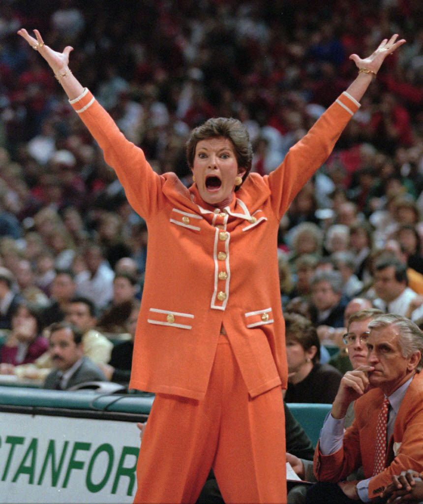 In this March 31, 1996, file photo Tennessee women's basketball coach Pat Summitt gestures during her team's win over Georgia in the championship game of the NCAA women's college basketball tournament in Charlotte, N.C.