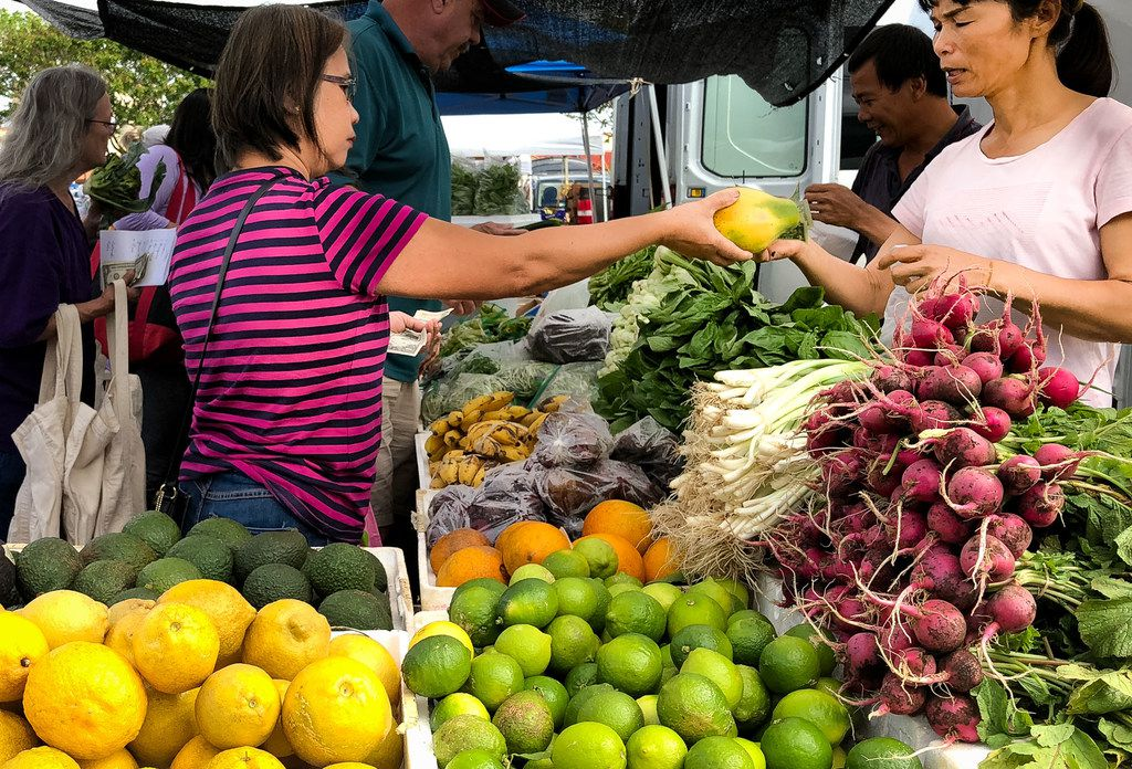 The Kauai Community Market offers locally grown produce each Saturday, plus coffee, honey, goat cheese, breads and pastries.