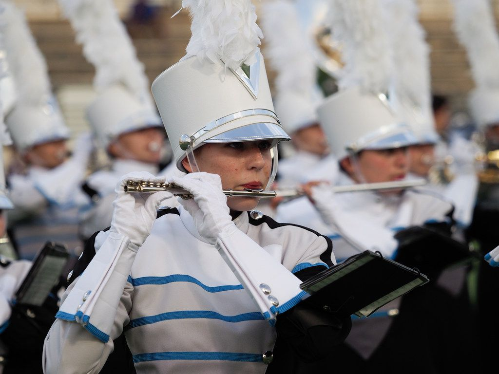 The Guyer High School marching band performs Sept. 15 in Denton.