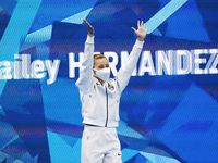 USA's Hailey Hernandez waves as she is introduced before the start of the women's 3 meter springboard semifinal competition during the postponed 2020 Tokyo Olympics at Tokyo Aquatics Centre, on Saturday, July 31, 2021, in Tokyo, Japan.