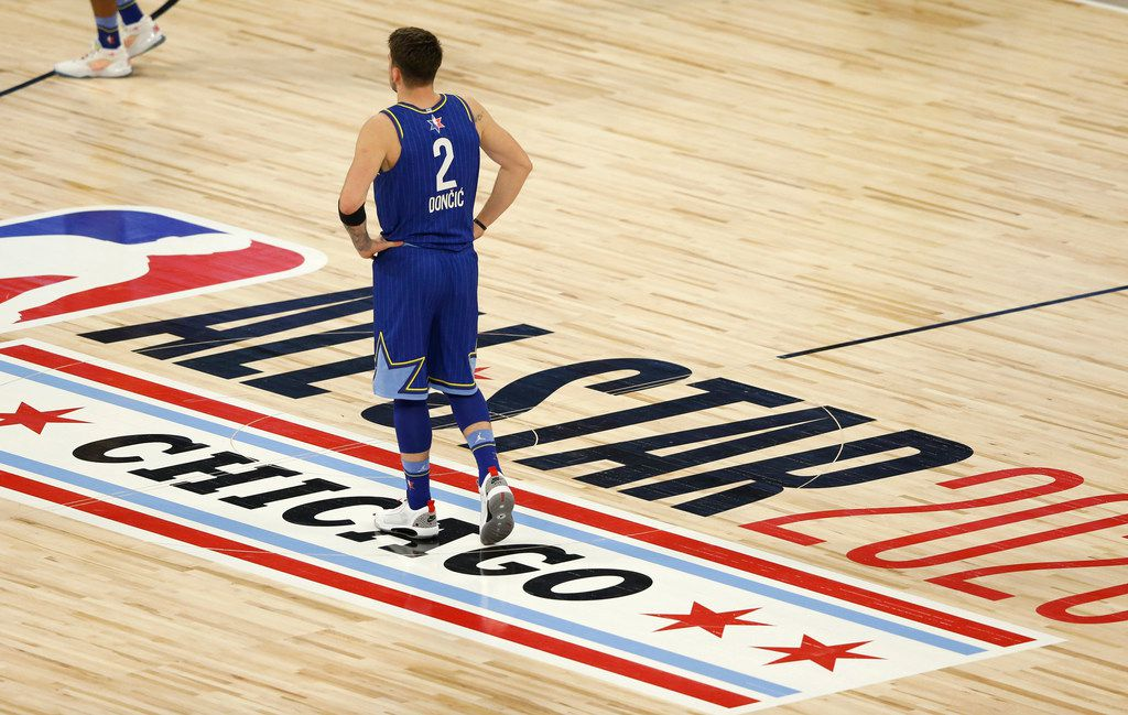 Team LeBron's Luka Doncic (2) during a break in play in the second half of play in the NBA All-Star 2020 game at United Center in Chicago on Sunday, February 16, 2020. Team LeBron defeated Team Giannis 157-155.