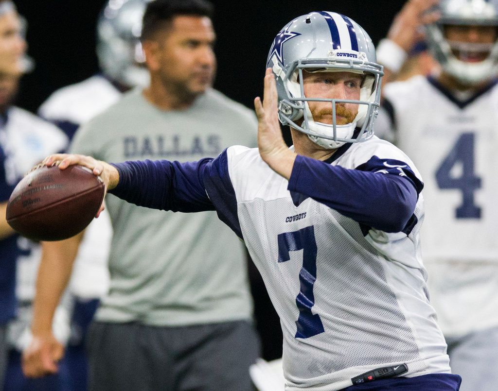 Dallas Cowboys quarterback Cooper Rush (7) throws a pass during a Dallas Cowboys OTA practice on Wednesday, May 22, 2019 at The Star in Frisco. (Ashley Landis/The Dallas Morning News)