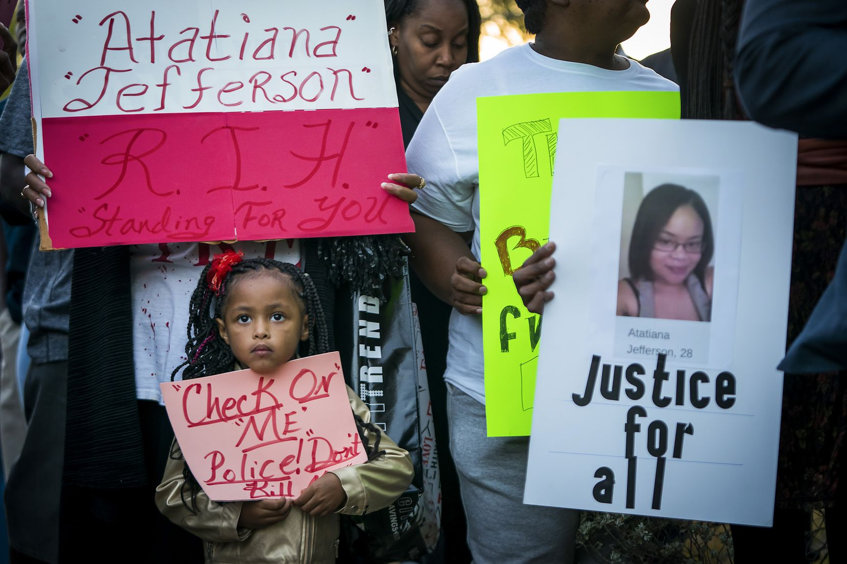 Trinity Ford, 4, was among the crowd gathered during a community vigil for Atatiana Jefferson on Sunday, Oct. 13, 2019, in Fort Worth.