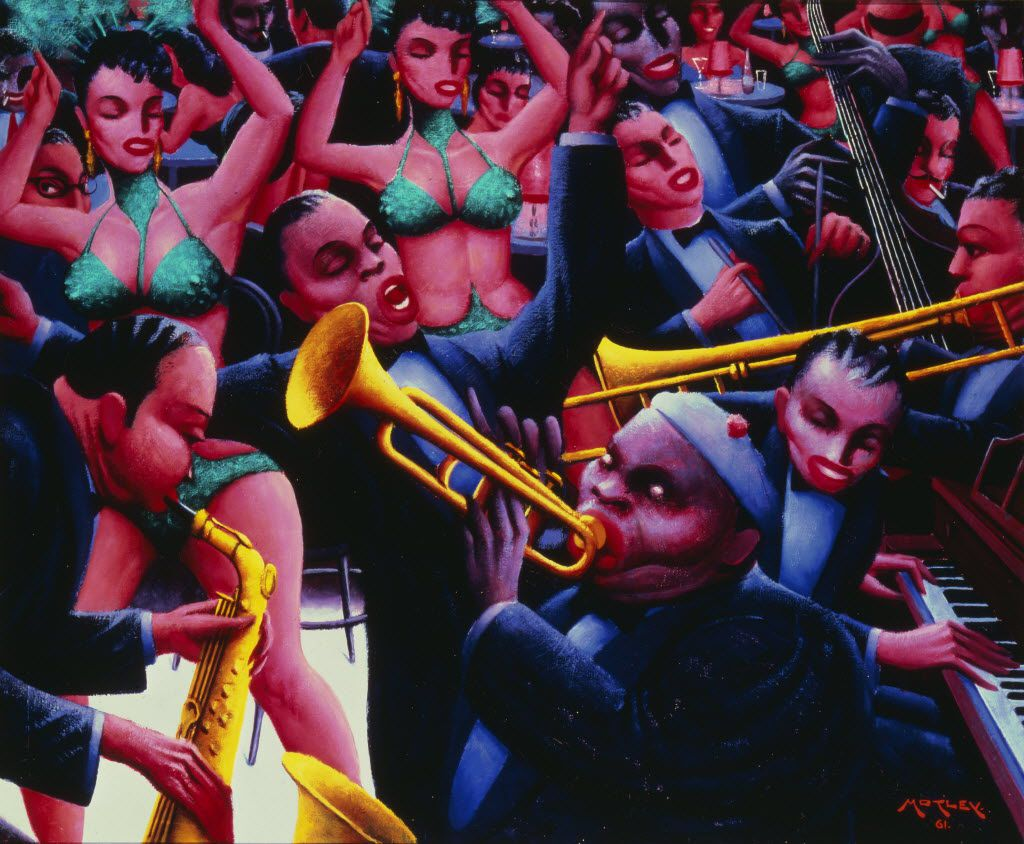 Archibald J. Motley Jr. (1891-1981), Hot Rhythm, 1961 (Valerie Gerrard Browne  Collection of Mara Motley and Valerie Gerrard Browne. Image from Chicago History Museum). Motley's paintings are among the works cited in the National Endowment for the Humanities grant given to the Amon Carter Museum of American Art in Fort Worth.