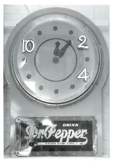 A clock representing the famous 10, 2, and 4 motto of Dr Pepper soda is one of the displays at the Dr Pepper Museum in Waco.  Photographed on May 6, 1991.