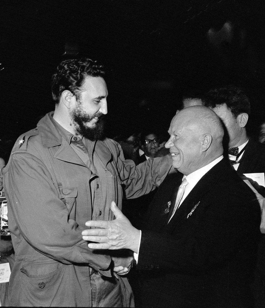 Soviet Premier Nikita Khrushchev embraced Fidel Castro on the floor of the U.N. General Assembly in September 1960.