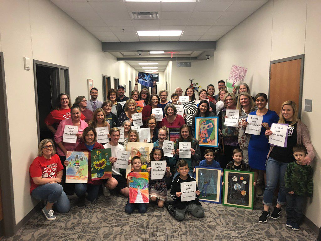 Approximately 40 parents and students showed up at a recent Mansfield ISD board meeting to speak in support of Charlotte Anderson Elementary School art teacher Stacy Bailey.