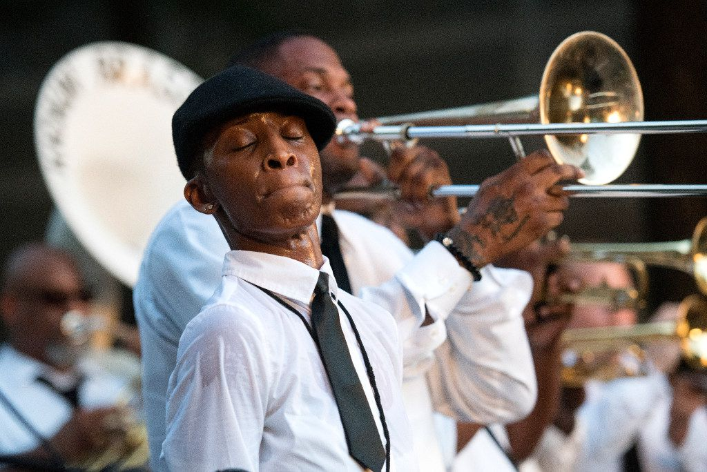 Gibson was grand marshal of the Kickin' Brass Band at the Arts District Block Party last June.