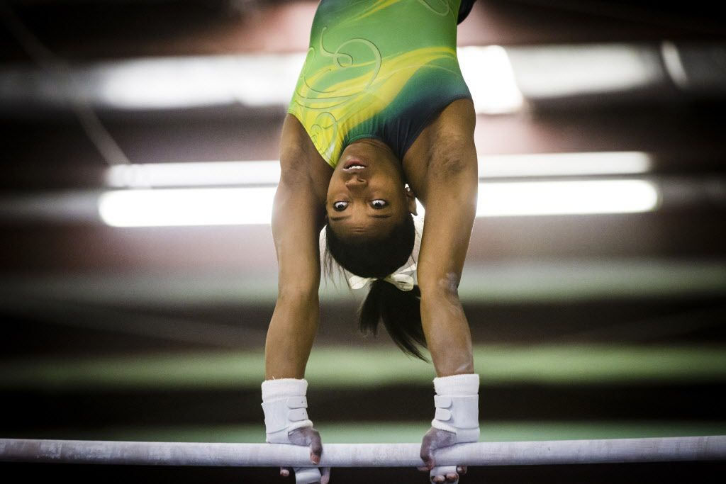Simone Biles, the two-time World all-around champion who will be competing in this year's AT&T American Cup, training at World Champions Centre in The Woodlands, Texas, on Tuesday, Feb. 17, 2015.