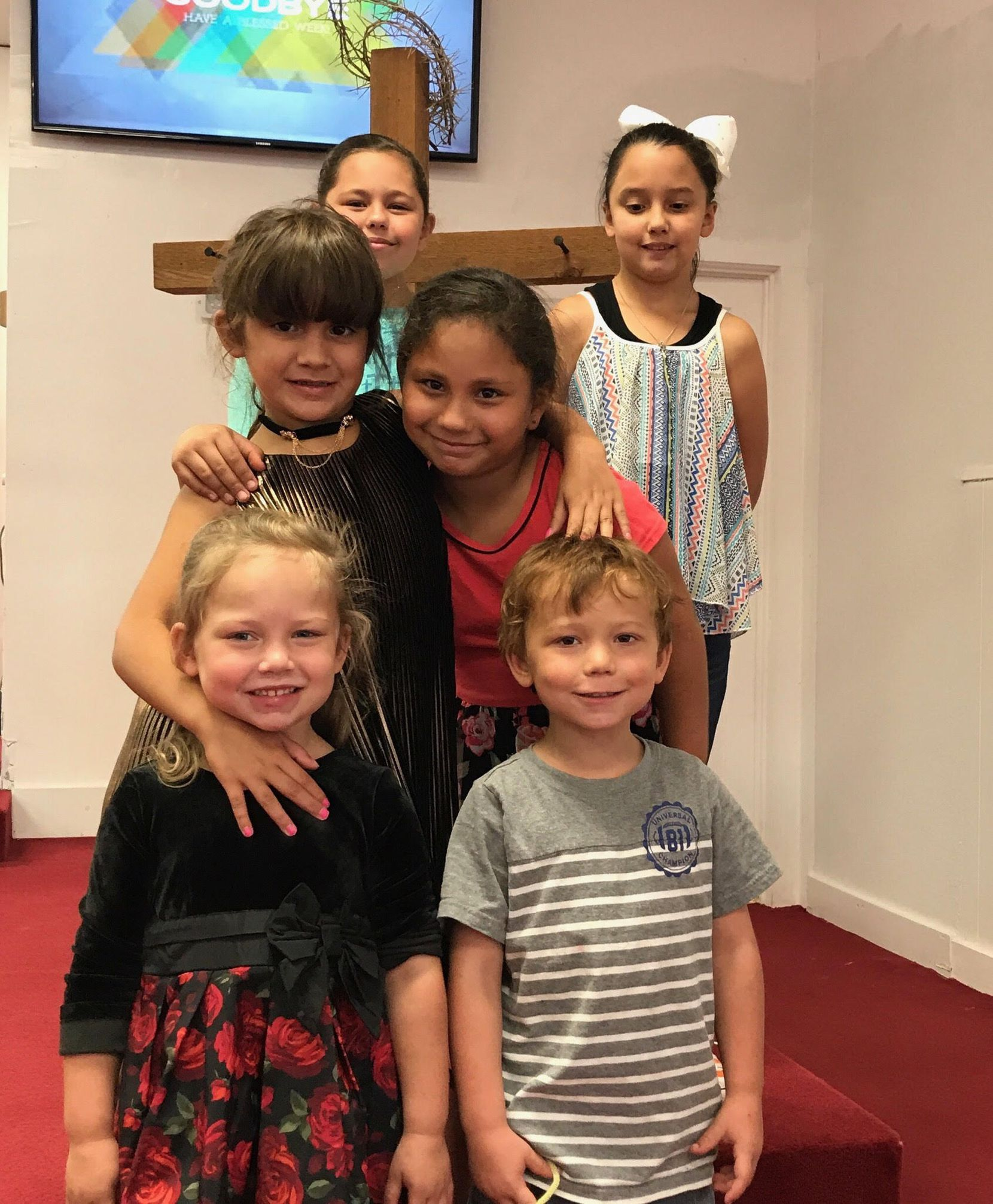 Bottom row: Brooke and Ryland Ward, both five. Middle row: Haley Ward and Emily Garza, 7. Top row: Rhianna Garza and McKinley Ward, 9. Brooke Ward and Emily Garza were killed in the shooting at the First Baptist Church of Sutherland Springs on Sunday, Nov. 5, 2017. Ryland Ward was out of surgery and stable as of Sunday night. (Photo courtesy of Michael Ward)