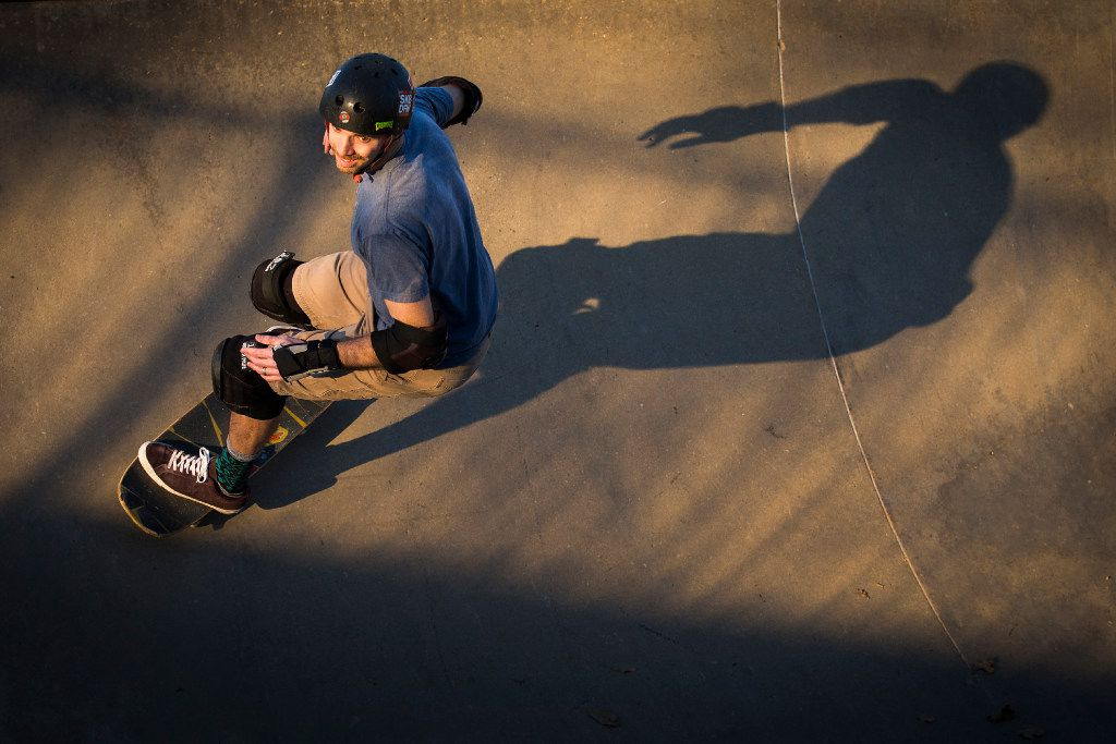 Clinton Haley rides his skateboard at Lively Pointe Skate Park on Sunday, Jan. 22, 2017, in Irving. (Smiley N. Pool/The Dallas Morning News)