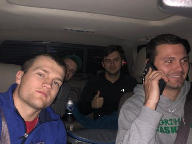 DJ Draper (left) takes a selfie during his ride from D-FW to Indianapolis for the NCAA Tournament. Jake Gross, another former UNT player, had the wheel.