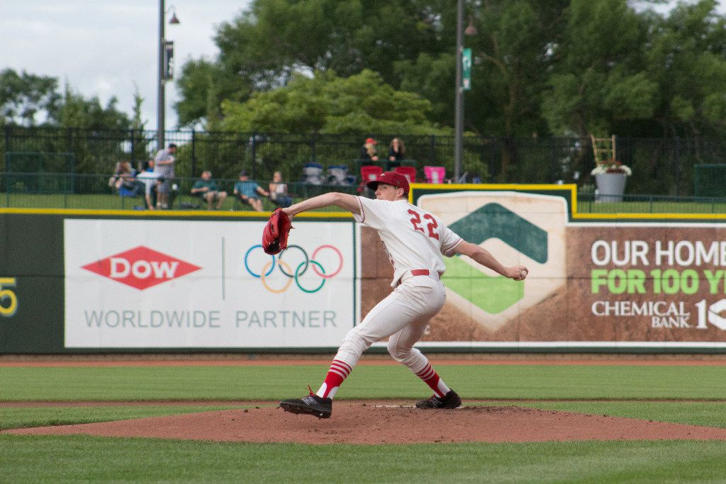 A.J. Alexy winds up to pitch for the Great Lakes Loons. Alexy joined the Rangers' minor league system July 31, 2017, as part of the Rangers trade that sent Yu Darvish to the Los Angeles Dodgers.