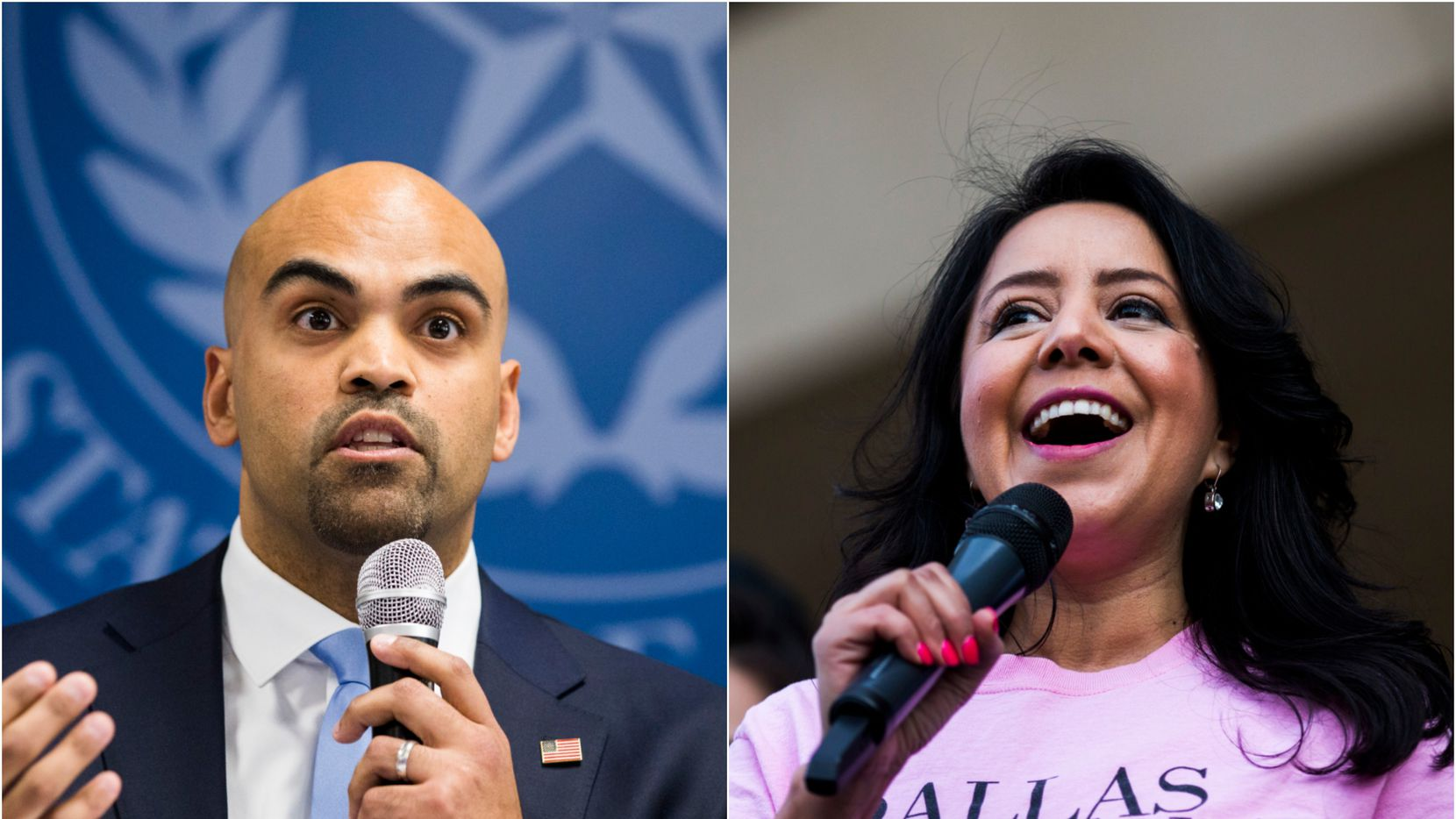 State Rep. Victoria Neave speaks at a rally at Dallas City Hall after the Dallas Women's March on Jan. 20, 2019. At left, U.S. Rep. Colin Allred speaks about Dallas County's response to the coronavirus outbreak on March 6, 2020 at the Dallas County Health and Human Services Building.