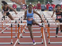 Arlington Seguin's Tonea Marshall jumps over the last hurdle during her 100 meter hurdles at the 5A UIL State Track meet at the Mike A. Myers Stadium, at the University of Texas on May 15, 2014 in Austin, Texas. Thao Nguyen/Special Contributor