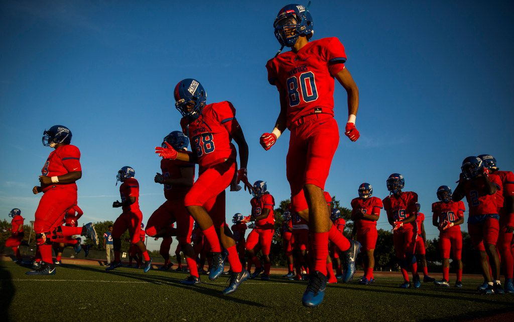 Duncanville warms up before a high school football game between Lancaster and Duncanville on Friday, August 31, 2018 at Panther Stadium in Duncanville, Texas. (Ashley Landis/The Dallas Morning News)