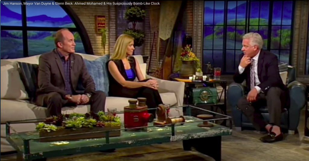 Glenn Beck (right) interviews Irving mayor Beth Van Duyne and security consultant Jim Hanson about the clock made by 14-year-old Irving ISD student Ahmed Mohamed that led to his being expelled.