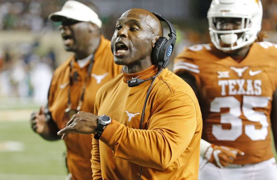 Texas coach Charlie Strong makes a point to his troops along the sidelines in the fourth quarter during the Notre Dame Fighting Irish vs. the University of Texas Longhorns NCAA football game at Darrell K. Royal Memorial Stadium in Austin on Sunday, September 4, 2016. (Louis DeLuca/The Dallas Morning News)