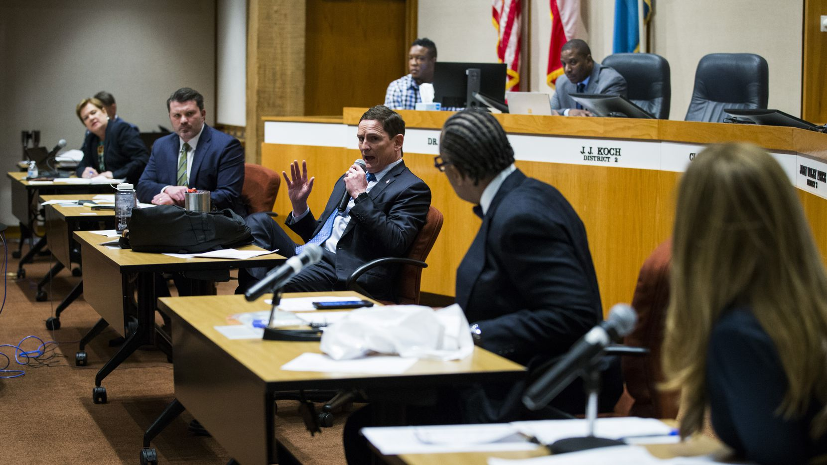 The Dallas County Commissioners Court met March 19 to authorize an extension of Judge Clay Jenkins order. The court met again on Friday to extend the order, which requires individuals to stay home except for critical errands, until April 30. (Ashley Landis/The Dallas Morning News)