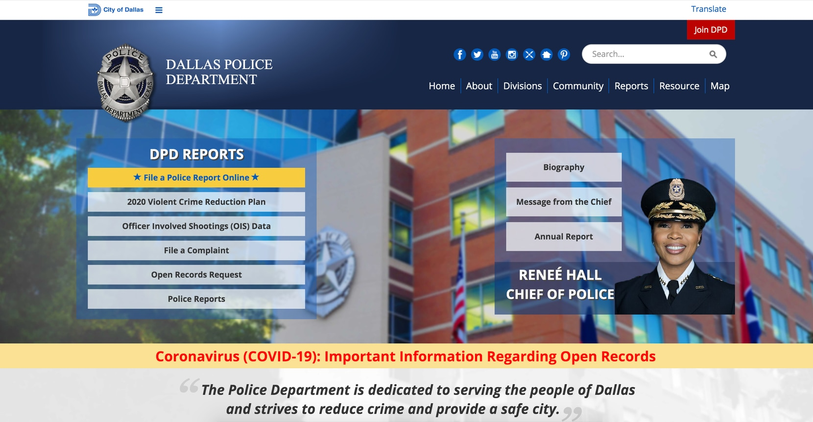 The homepage of dallaspolice.net.