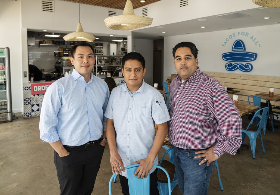 Co-owner Joon Choe, left, chef Juan Ascanio, center, and co-owner Mohammad Qasim run Public Taco in Dallas.