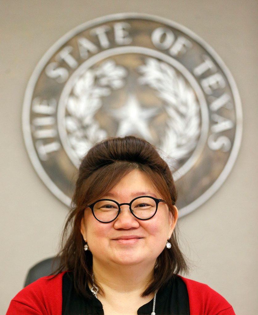 State District Judge Tina Yoo Clinton, seen in her courtroom at the Frank Crowley Courts Building on Tuesday, and Brandon Birmingham are asking for mediation in the bail reform lawsuit filed against Dallas County.