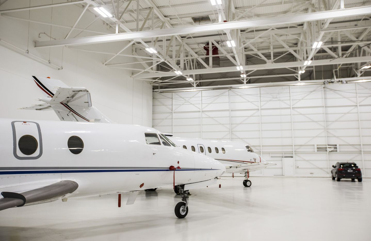 One of the private aircraft hangers at Braniff Center on Lemmon Avenue in Dallas.
