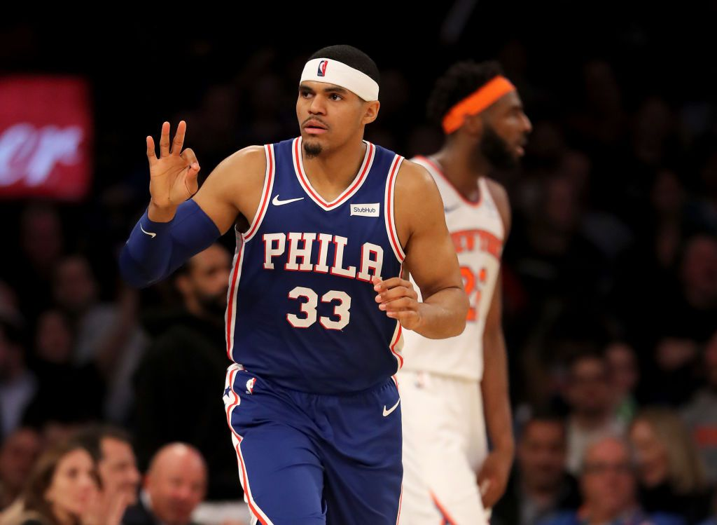 NEW YORK, NEW YORK - FEBRUARY 13:   Tobias Harris #33 of the Philadelphia 76ers celebrates his three point shot in the second half against the New York Knicks at Madison Square Garden on February 13, 2019 in New York City. NOTE TO USER: User expressly acknowledges and agrees that, by downloading and or using this photograph, User is consenting to the terms and conditions of the Getty Images License Agreement. (Photo by Elsa/Getty Images)
