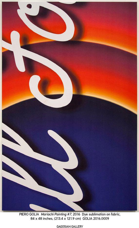 PIERO GOLIA Mariachi Painting #7, 2016 dye sublimation on fabric 84 x 54 x 2 inches / 213.4 x 137.2 x 5.1 cm   Piero Golia. Photo by Benjamin Lee Ritchie Handler. Courtesy Gagosian.