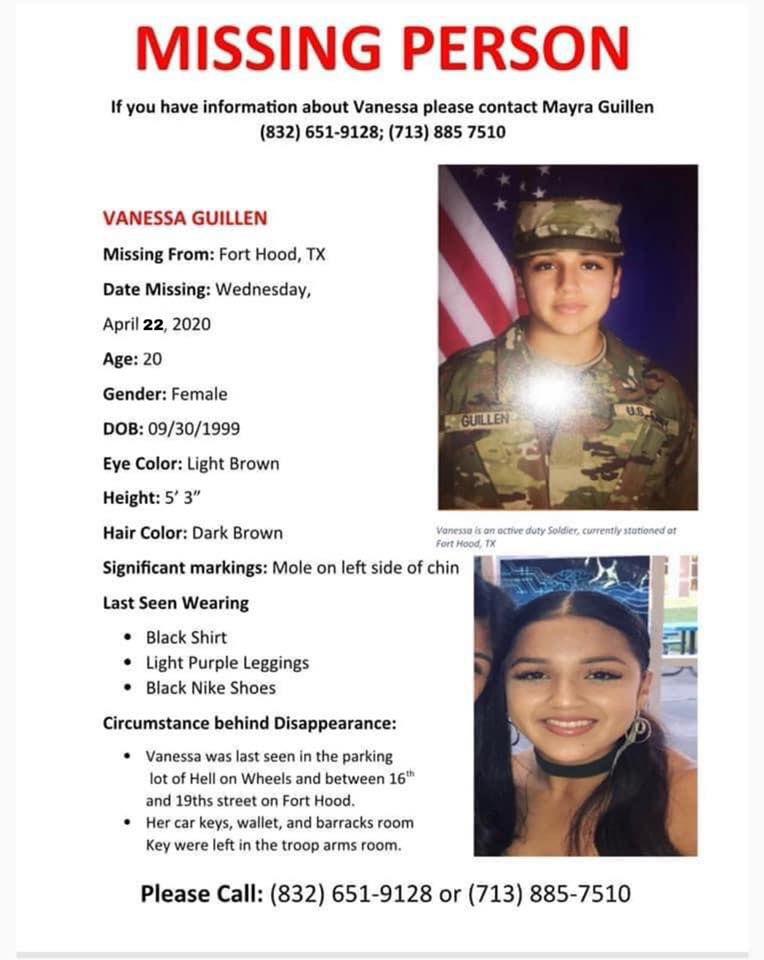 Vanessa Guillén lleva 50 días desaparecida. La última vez se le vio en un estacionamiento de la base militar de Fort Hood.