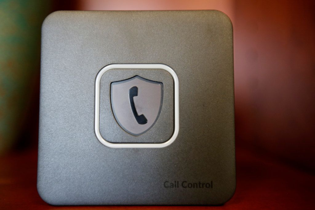 Call Control, a device to prevent robocalling solicitation, seen at John Adler's office in Allen on Aug. 15, 2017.