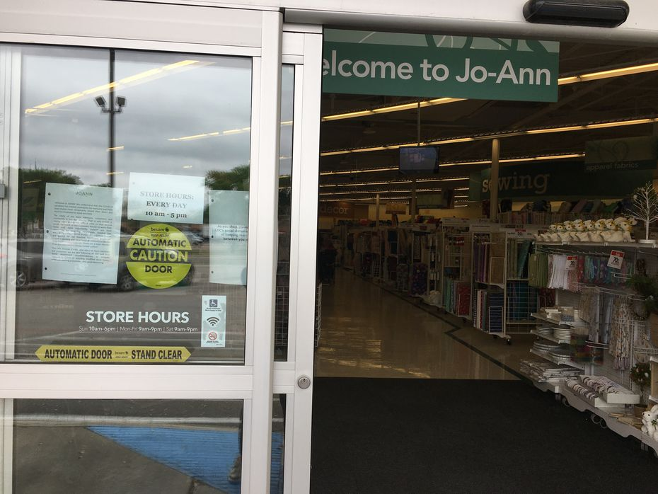 Automatic door slides open at the Joann Store in East Dallas on Mockingbird Lane.