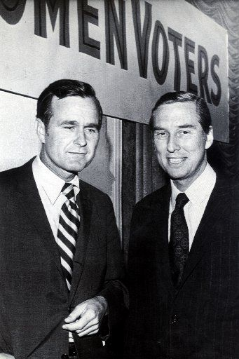 This is a file photo from the early 1970s of George Bush and Lloyd Bentsen when they were running    against each other for the U.S. Senate. Bentsen won the election.