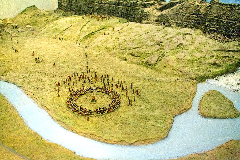 A carefully-crafted miniature illustrates the Thing (Parliament) of the Vikings at the Saga Center, Hvolsvollur, Iceland.