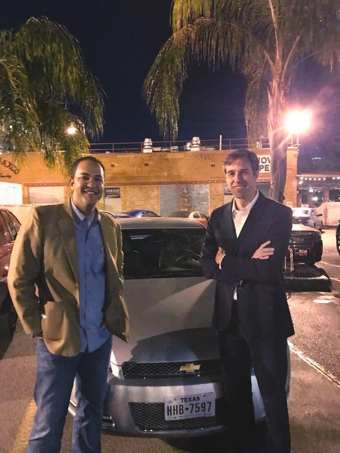 GOP Rep. Will Hurd (left) and Rep. Beto O'Rourke, a Democrat, began their trip at Mi Tierra in San Antonio.