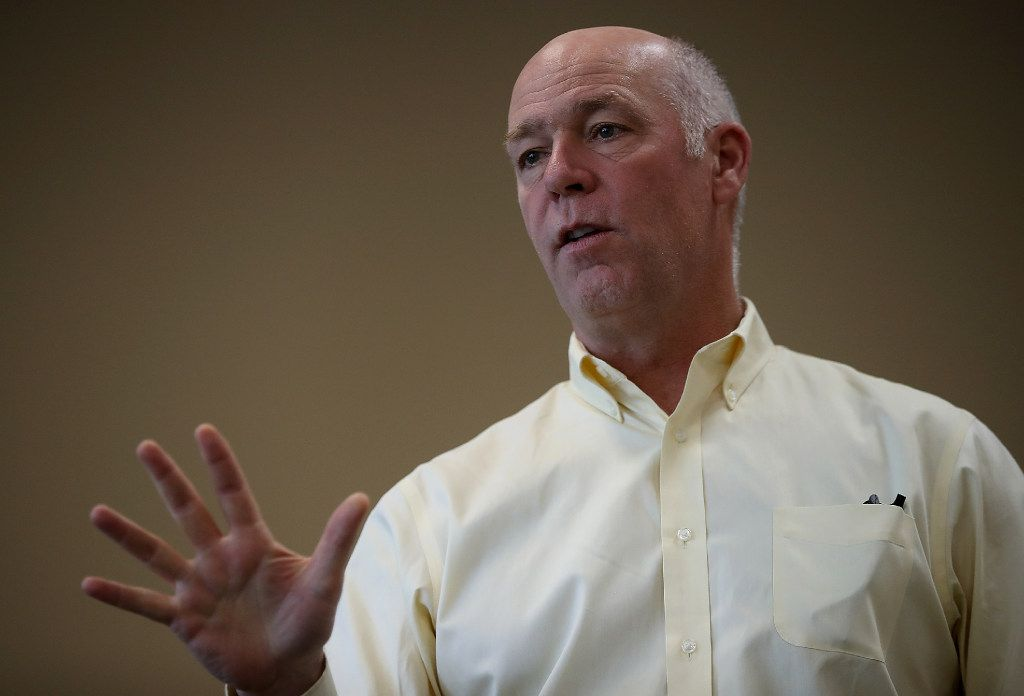 Republican congressional candidate Greg Gianforte speaks to supporters during a campaign meet and greet in Missoula, Mont.  Gianforte is in a tight race against Democrat Rob Quist.