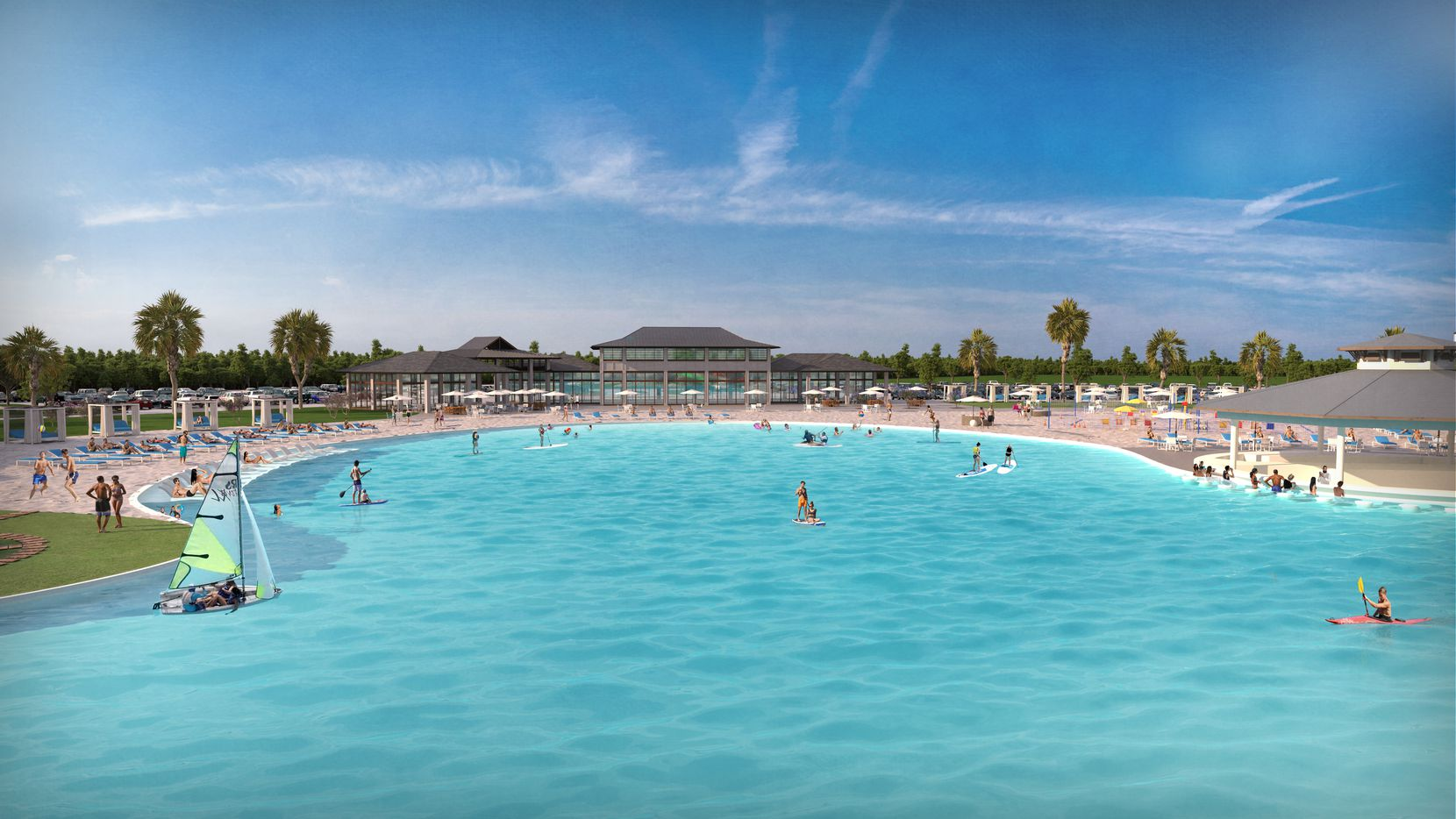 The area around the lagoon will have an event center, restaurants, retail and apartments.