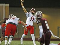 Rockwall Heath QB Josh Hoover (17) throws a long pass during the first half of a high school football game against Mesquite High at Hanby Stadium in Mesquite  on Friday, October 22, 2021. (John F. Rhodes / Special Contributor)