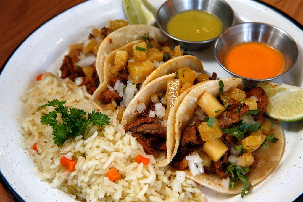 Tacos el pastor served at Americado in Fort Worth on April 9, 2017.