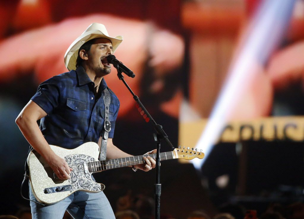 Brad Paisley performs during the 2015 Academy of Country Music Awards Sunday, April 19, 2015 at AT&T Stadium in Arlington, Texas.