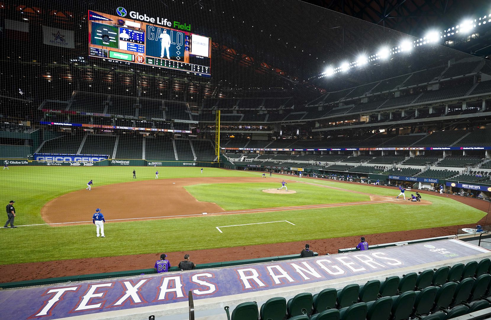 Texas Rangers outfielder Joey Gallo bats during the seventh inning of an exhibition game  against the Colorado Rockies at Globe Life Field on Wednesday, July 22, 2020.