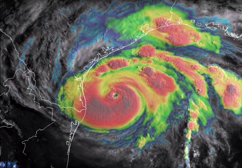 This blended visible/infrared image of Hurricane Harvey from the National Oceanic and Atmospheric Administration shows the storm's eye as it neared landfall off the coast of Texas on Friday.