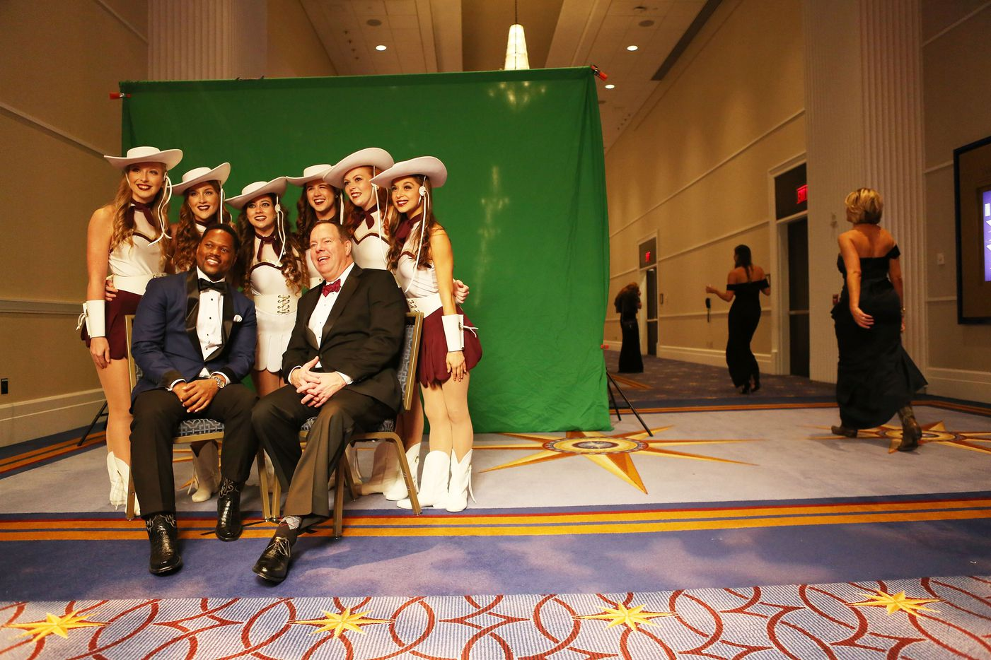 Revelers pose for an official photo at the Texas Black Tie and Boots inaugural ball on January 19, 2017 in National Harbor, Maryland. President-elect Donald Trump will be sworn in as the 45th president of the United States tomorrow.
