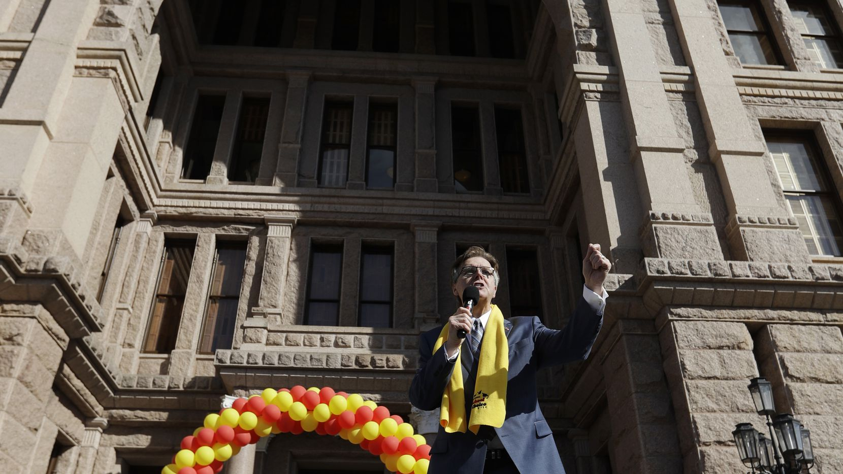 Lt. Gov. Dan Patrick speaks during a rally in support of school choice on the steps of the Texas Capitol, Tuesday, Jan. 24, 2017, in Austin, Texas.